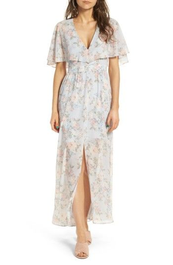 Free shipping and returns on WAYF Love Note Flutter Sleeve Maxi Dress at Nordstrom.com. This floaty maxi feels like a sultry take on those prom dresses from '70s with its plunging neckline and split hem that shows off your legs.