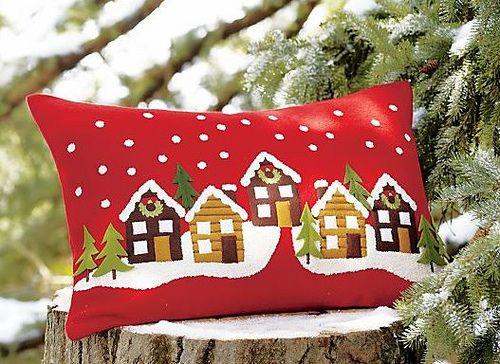 Cabins in Winter Pillow Cabañas en invierno Almohada