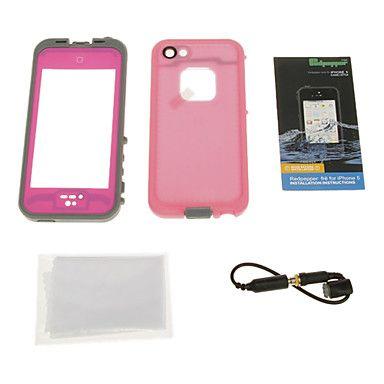 2-en-1 hermética impermeable protectora rosada de caso completo de cuerpo con un paño de limpieza para el iPhone 5/5S – USD $ 16.99