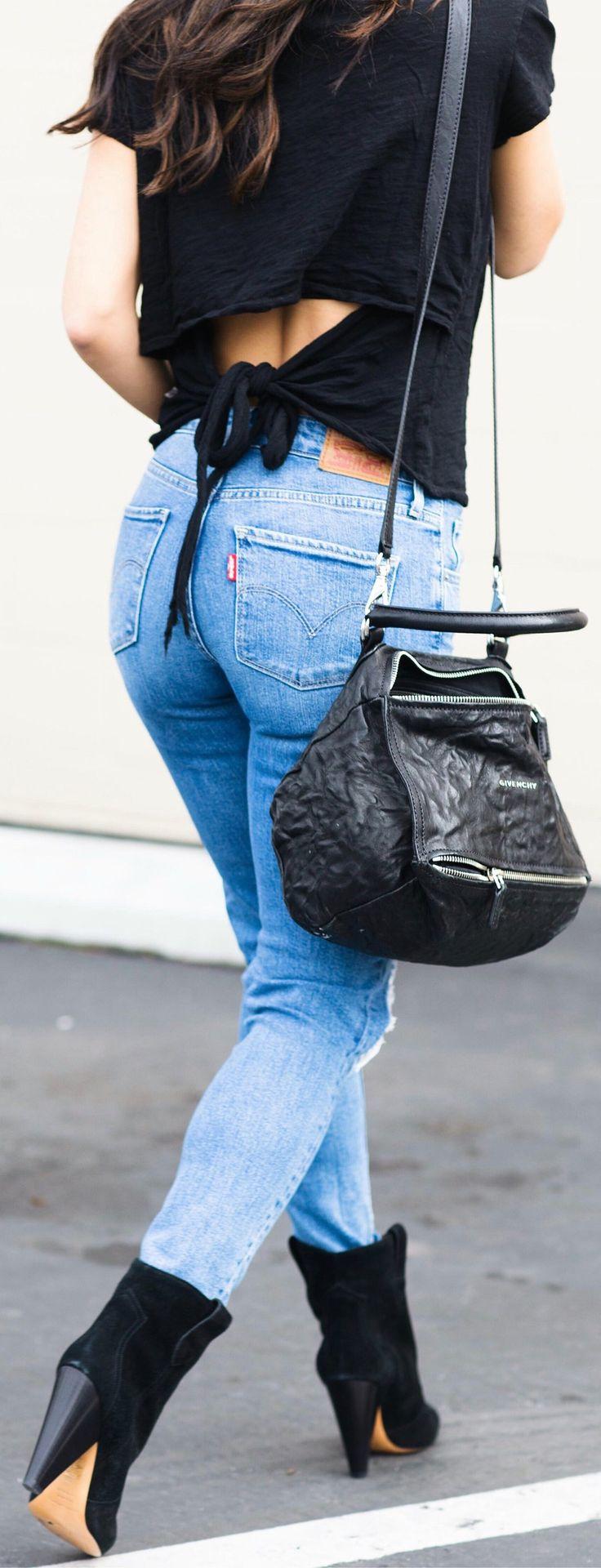Black Top / Skinny Ripped Denim / Black Shoulder Bag / Black Suede Booties