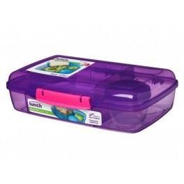 Barevný box s 5 oddíly a kelímkem, 1,76 l, Sistema, fialová