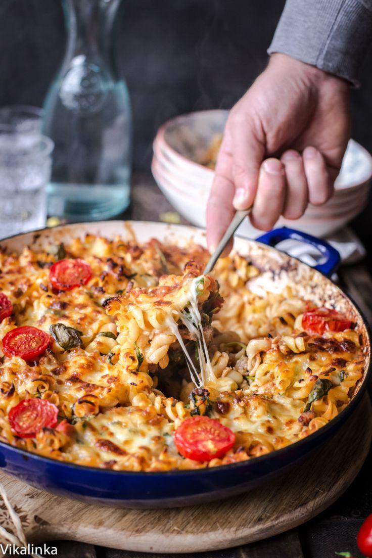 Baked Fusilli with sausage, arugula and fresh mozzarella.