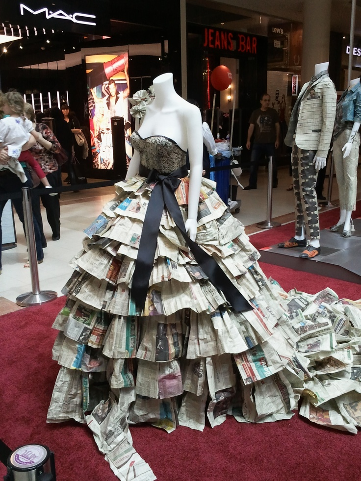 This dress is part of a project where students of the Shenkar Design Academy used old newspapers to create fashion and furniture