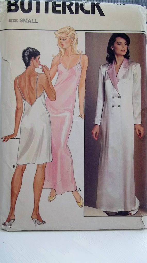 a09b97fe6f Misses  Nightgown   Robe 80 s Butterick 4870 Sewing Pattern Long or Short  Bias Nightgown Double Breasted Unlined Robe Size 8 - 10 UNCUT