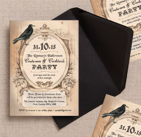 Vintage Gothic Halloween Costume Party Event or Wedding Invitations Invites with Envelopes