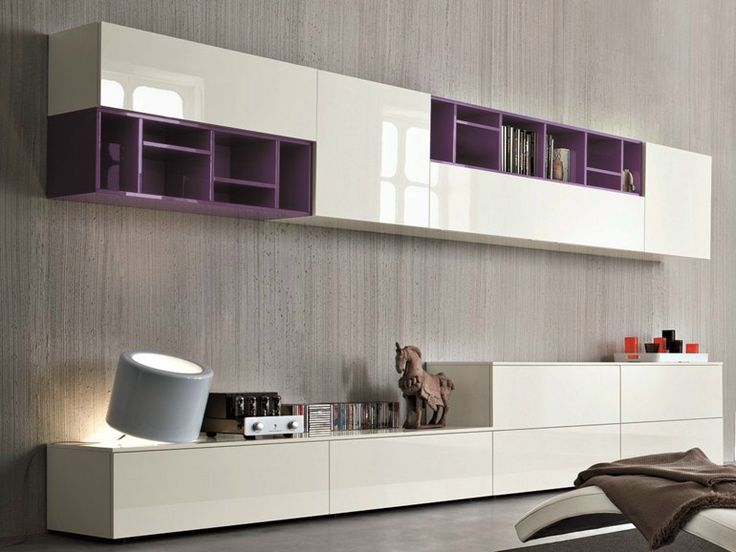 Sectional lacquered storage wall SLIM 11 Slim Collection by Dall'Agnese | design Imago Design, Massimo Rosa