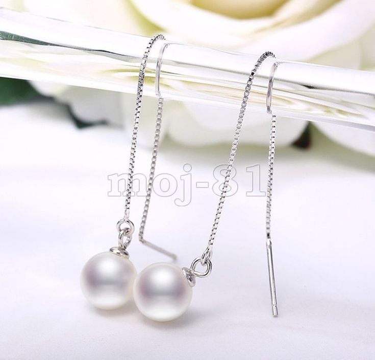 8Mm Natural White Shell Pearl Long 925 Sterling Silver Ear Chain/Link Earrings