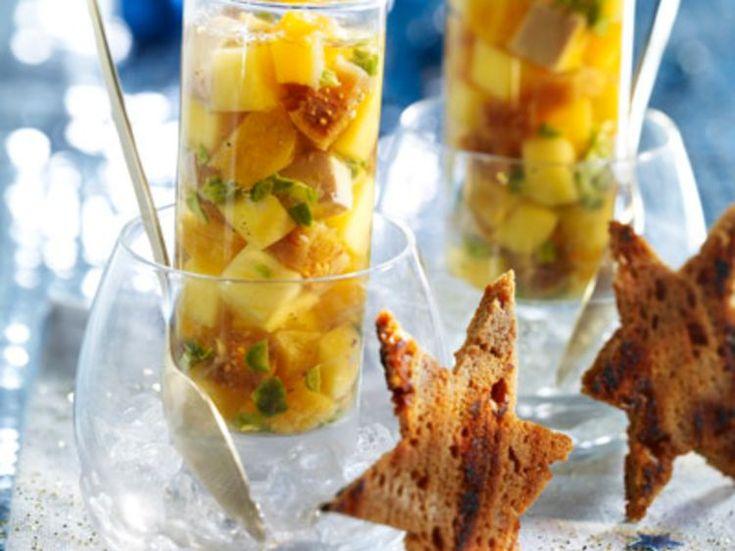 Découvrez la recette Méli-mélo de foie gras et de fruits sur cuisineactuelle.fr.