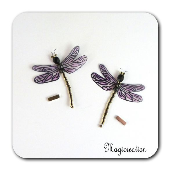 MAGNETS LIBELLULES TRANSPARENTES ROSE-DEMOISELLE - Boutique www.magicreation.fr