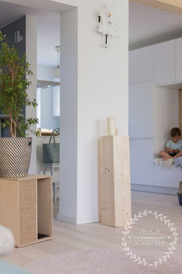 Vintage Blick in unsere offene K chen und auf unseren Lieblingssitzplatz Renovierung Reihenhaus Wohnzimmer einrichten L rchenholz