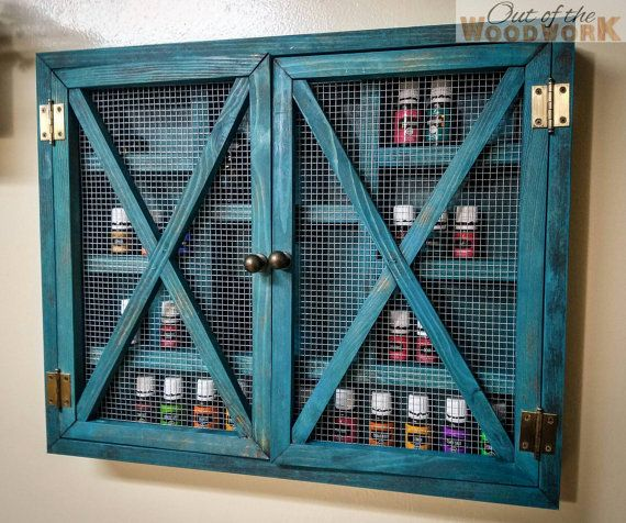 Rustic Wire Shelf Cabinet-Small- Essential Oil, Young Living, Doterra, Nail Polish, Makeup, Spice Rack