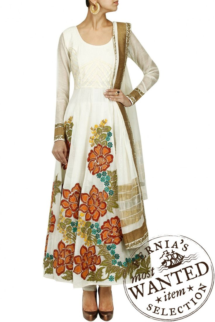 Ivory multicolour floral hand embroidered anarkali set by EKRU. Shop now only at www.perniaspopups... #perniaspopupshop #ekru #love #kurta #etnic #embroidered #exquisite #shopnow #happyshopping