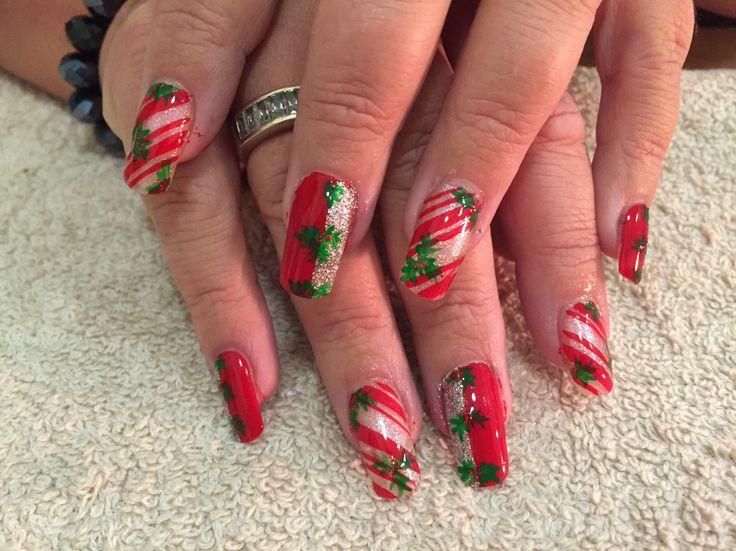 Holly Christmas nails