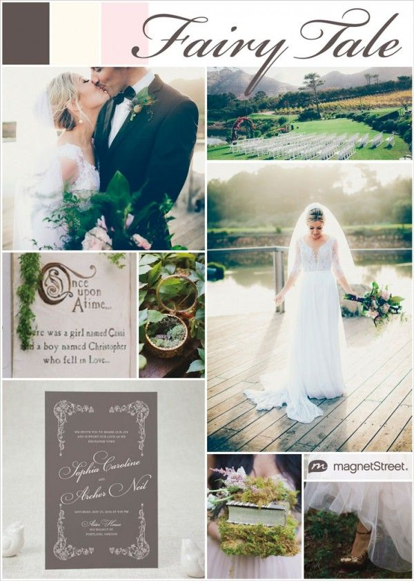 Fairy tale rustic wedding featuring a color palette of slate, ivory and cream rose