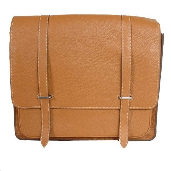 Hermes Steve 35CM Messenger Bag Clemence Leather Camel