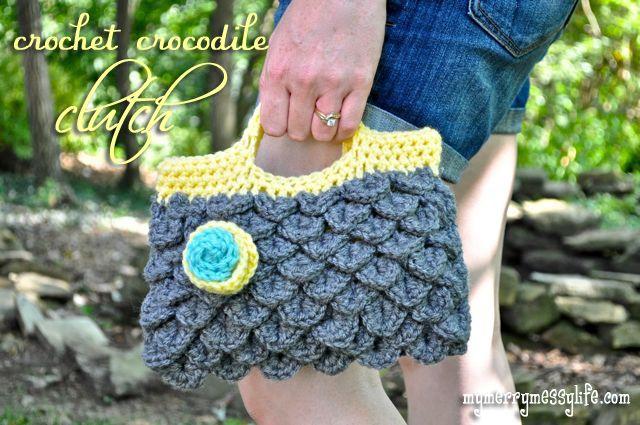 My Merry Messy Life: Crochet Crocodile Stitch Tutorial {part 1 of 2}Crochet Crocodile, Free Pattern, Crocodile Clutches, Free Crochet, Crochet Stitches, Crochet Patterns, Clutches Purses, Crocodile Stitches, Stitches Pattern