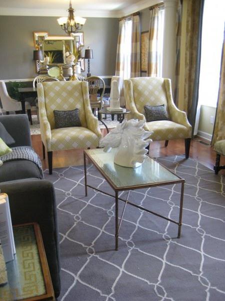 Gray U0026 Yellow Living Room   For Inspiration. Like The Rug U0026 Chairs.