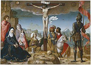 """Nos encontramos ante un cuadro llamado """"Crucifixoón"""", realizado por Juan de Flandes entre 1509-1518."""