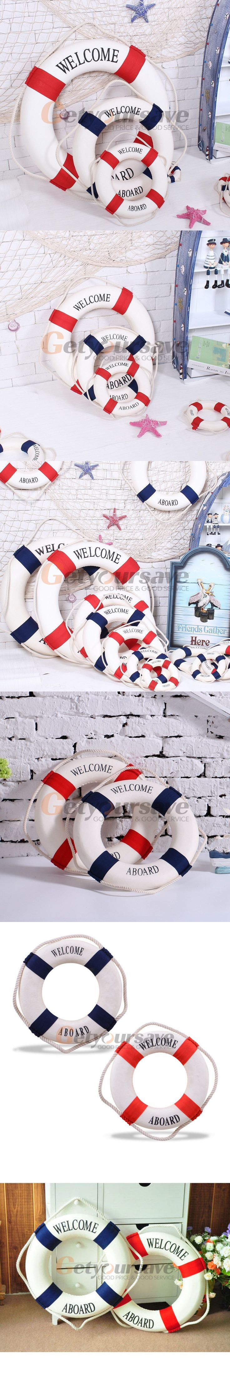 Welcome aboard boat ships life ring clock - New Lifering Lifebuoy Rope Hang Welcome Sign Beach Home Wall Nautical Decor Lifebuoy Beach Homes And Decor