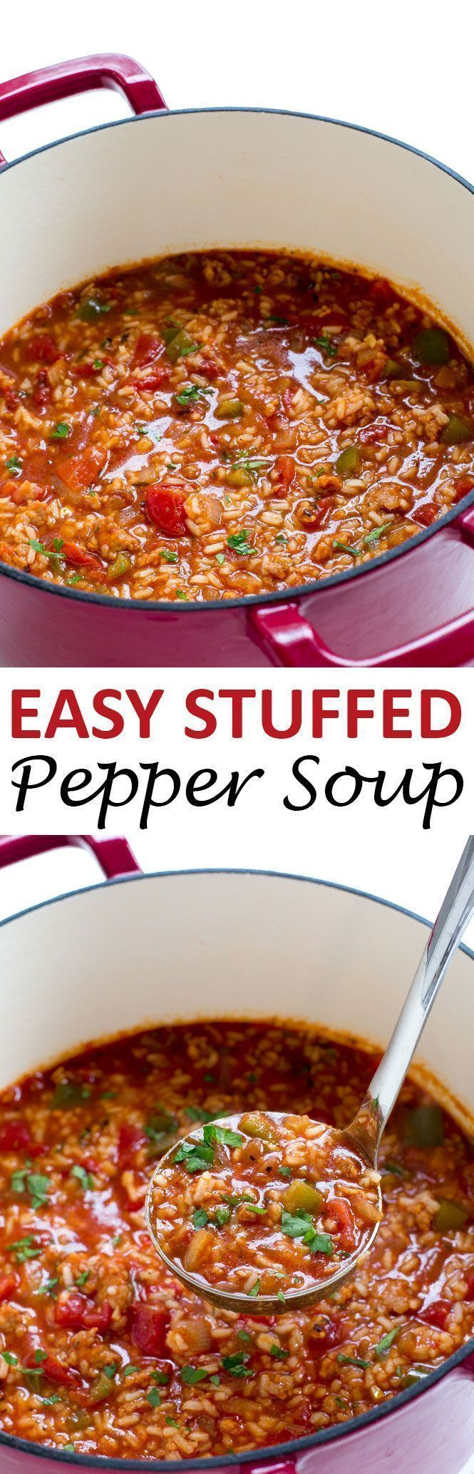 Stuffed Pepper Soup loaded with spicy sausage, bell peppers and rice! Everything you love about a stuffed pepper but in soup form!   chefsavvy.com #recipe #stuffed #pepper #soup #rice #sausage #dinner #meat