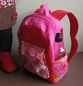 DIY tutorial make a doll sized backpack. This would be perfect for