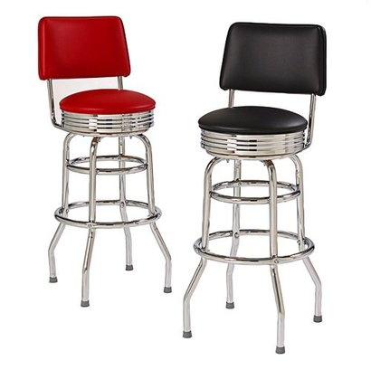 Double Ring Bar Stool with Back and Chrome Bar Stools For SaleRetro