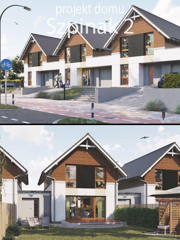"""Projekt domu z poddaszem użytkowym i jednostanowiskowym garażem, do zabudowy szeregowej i bliźniaczej. """"Szpinak 2"""" jest budynkiem o nowoczesnej zwartej bryle nawiązującej do kształtu archetypowego domu. Projekt idealnie wpisuje się w charakter zabudowy miejskich i podmiejskich osiedli mieszkaniowych. Wnętrze każdego segmentu zostało zaplanowane tak, aby efektywnie wykorzystać dostępną powierzchnię oraz zapewnić komfort i przestrzeń nawet dla 4 osobowej rodziny."""