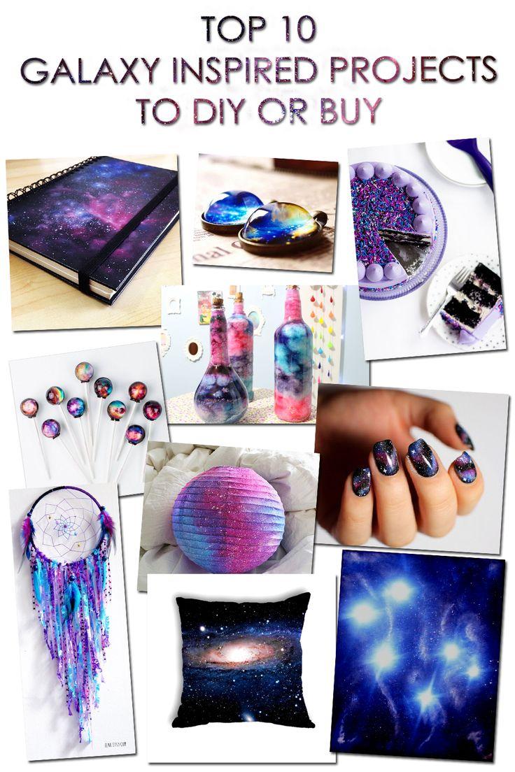 TOP 10 GALAXY INSPIRED PROJECTS TO DIY OR BUY [[MORE]]• DIY Galaxy Print Notebook (video tutorial) • DIY Wonderful Galaxy Jewelry (video tutorial) • DIY Galaxy Cake • BUY Galaxy Lollipops • DIY Nebula...