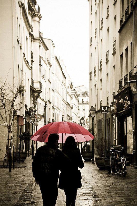 Paris Photography - Paris in the rain Romance- 16x24 Fine Art Photograph - European Photo - Affordable Decor - Red Umbrella in Paris $85