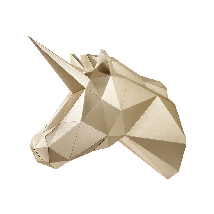 Paper Hunting Trophy DIY Assembly Kit 3D Paper Art Home Deco PAPA_UNICORN(Gold) #PAPAART #Modern