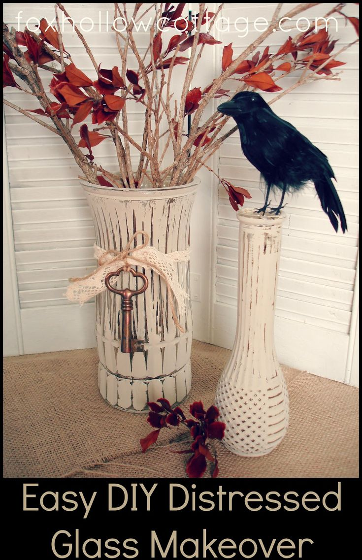 Fox Hollow Cottage: Easy DIY Fall Craft (Painted Distressed Glass Vase)