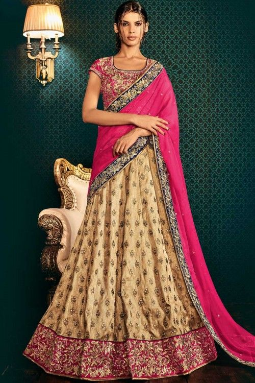 Latest Designer Beige Lehenga With Raw Silk Choli Beige semi stitch lehenga with raw silk choli. This lehenga choli is embellished with embroidered .Product are available in 34,36,38,40 sizes. It is perfect for Wedding Wear.     http://www.andaazfashion.co.uk/womens/lehenga-choli