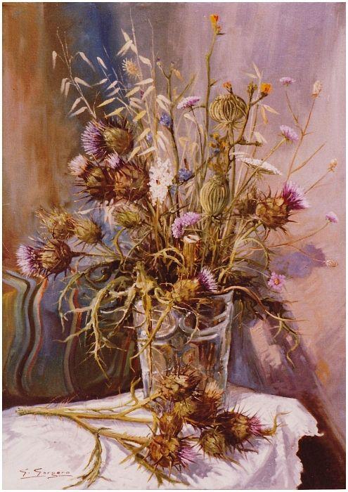 Fiori di cardo by giuseppe gorgero  Opera ad olio cm. 50 x 70