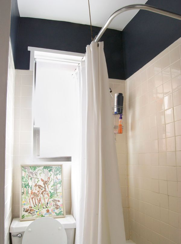 a touch of benjamin mooreu0027s racoon fur creates the illusion of a taller ceiling in this simple yet surprising bathroom makeover