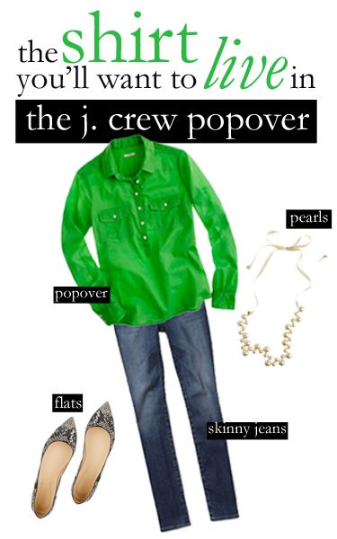 College Prep: The Popover: Emeralds, J Crew Jeans Outfits, Colors, Closet, Crew Popover, Jeans Flats, Flats Pearls, Colleges Clothing, Colleges Prep