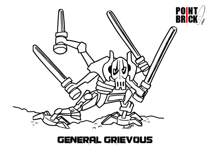 Disegno del generale grievous lego da colorare coloring for Disegni da colorare spiderman 3