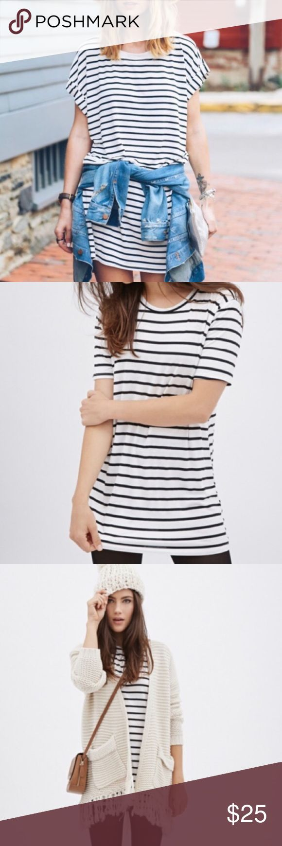 F21 Black + White Stripe T Shirt Dress F21 Striped TShirt Dress | Stripe T Shirt Dress in Black + White  Short sleeves  Round neckline  Classic stripe   73% polyester, 23% rayon, 4% spandex  Hand wash cold Forever 21 Dresses Mini