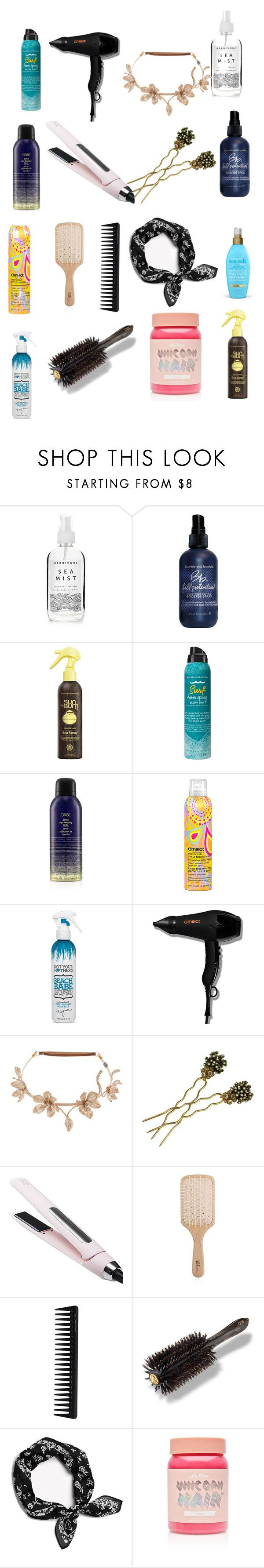 """hair means to be furiously happy"" by cecjones ❤ liked on Polyvore featuring A Weathered Penny, Bumble and bumble, Sun Bum, Oribe, amika, Forever 21, Colette Malouf, Countess Cis Zoltowska, L'ange and Philip Kingsley"