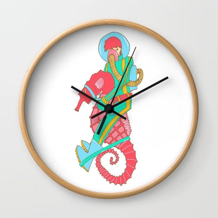 Riding the seahorse Wall Clock