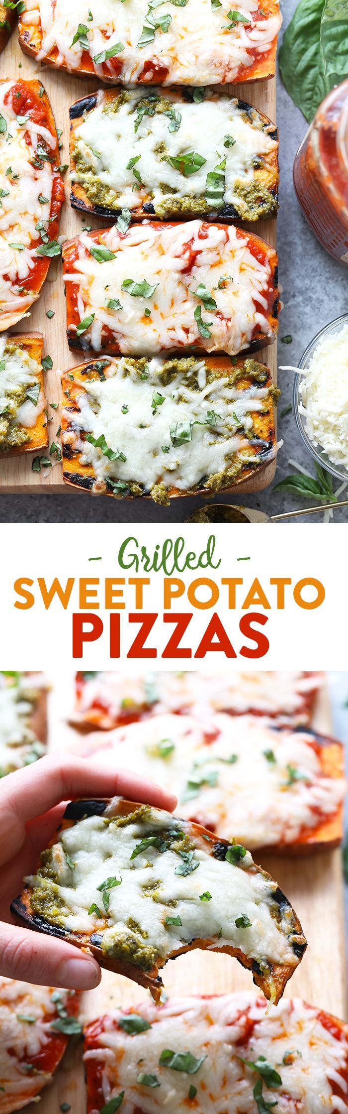 Wow the fam with these amazing grilled sweet potato pizzas! All you need is sweet potatoes, your favorite marinara sauce or pesto, mozzarella, and your favorite pizza toppings for this healthy 30 minu