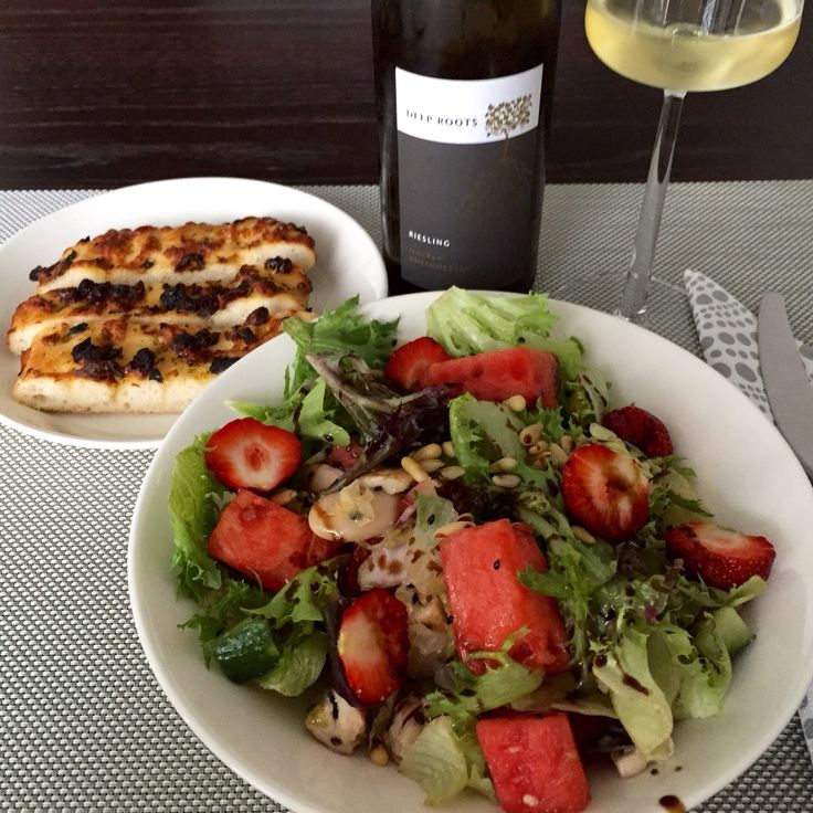 Healthy salad with Deep Roots riesling
