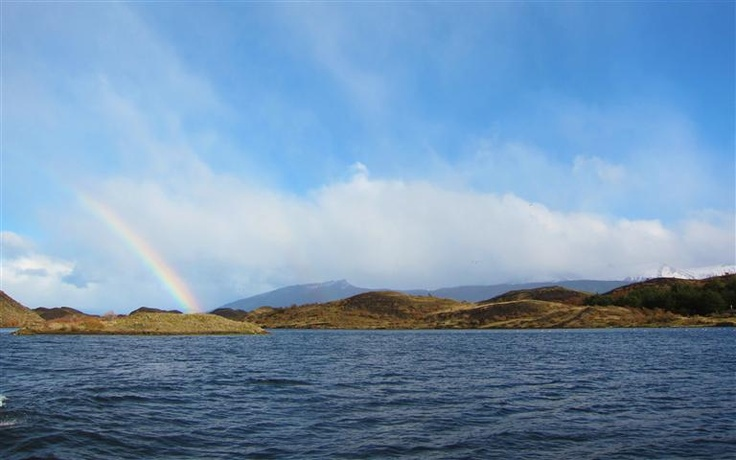 Rainbow over Patagonian fjord