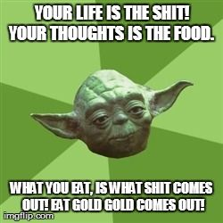 Your life is the shit! Your thoughts is the food. What you eat, is what shit comes out! Eat gold gold comes out!