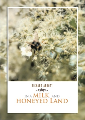 Promotional cover - 'In a Milk and Honeyed Land' - now published and available from online retailers and book shops