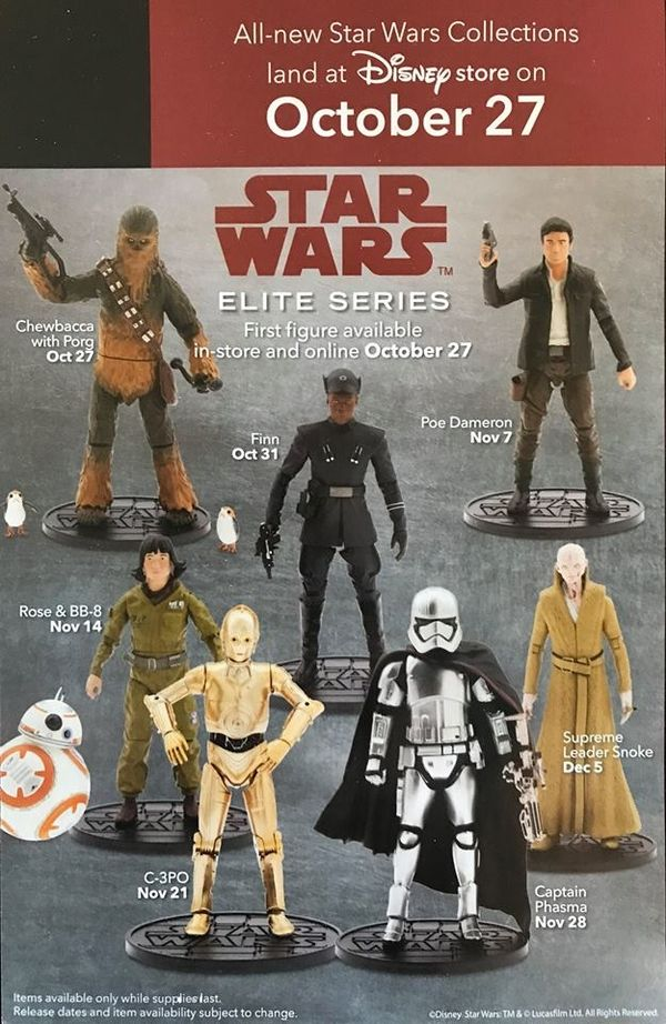 New #StarWars #TheLastJedi Elite Figures At The #Disney Store Starting October 27th #StarWars