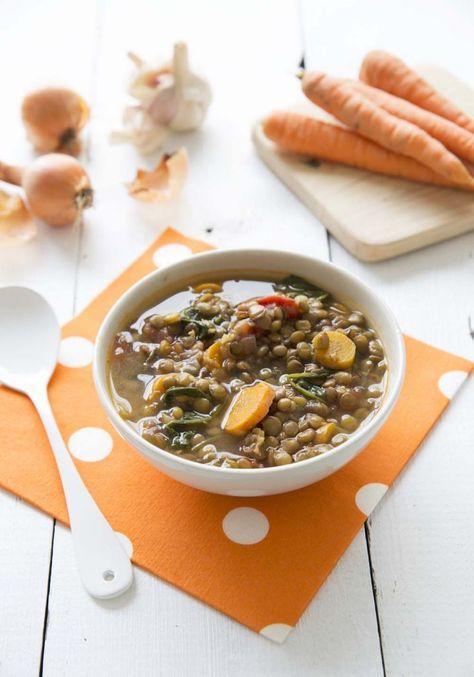 Soupe de lentilles aux épinards et carottes - Biodelices