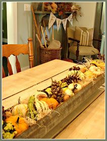 Cobblestone Farms: Chicken Feeder turned Fall Table Centerpiece...                                                                                                                                                                                 More