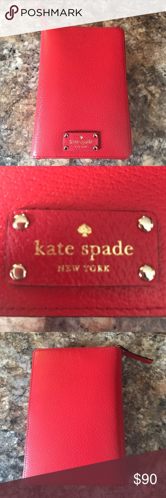 Kate Spade Wellesley Agenda Planner in Red This beautiful cherry red agenda/planner is by Kate Spade. Brand new and in perfect condition. Binder rings are tight and have never been opened.  Comes with 2017 agenda inserts and sections for notes, to do, birthdays, restaurants, and addresses. kate spade Other