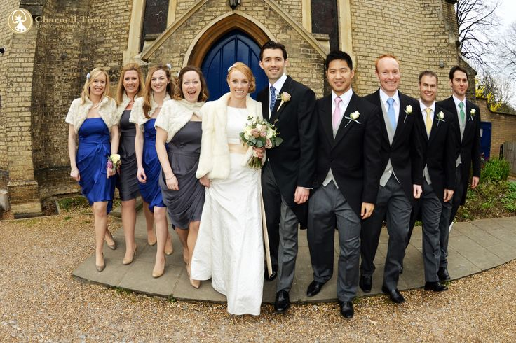 English wedding party on the move  and keeping warm during family formals in England. Charnell Timms Photography