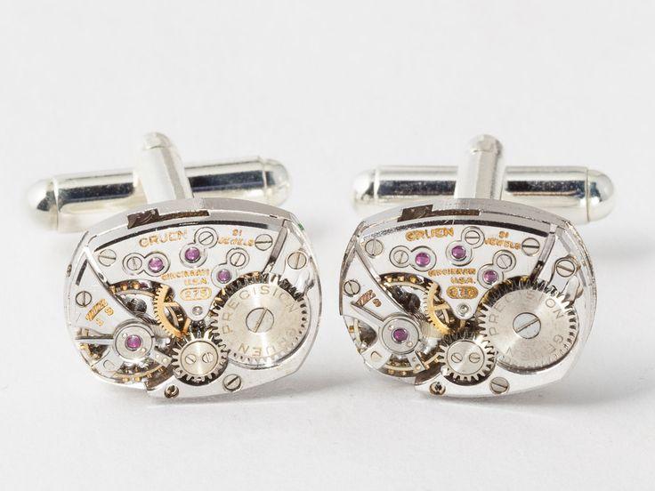 Very cool: Steampunk cufflinks vinatge rare Gruen watch by steampunknation